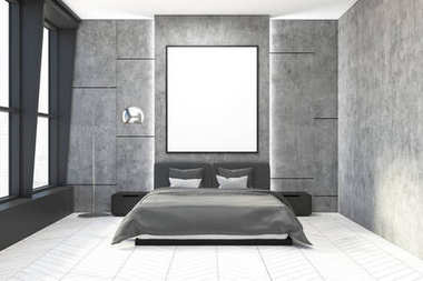 Concrete bedroom interior, poster