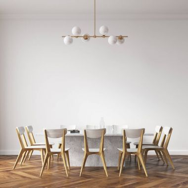 White dining table with design chairs