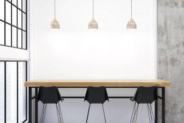 Loft bar corner, white walls, black stools