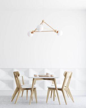 White dining room interior, lamp