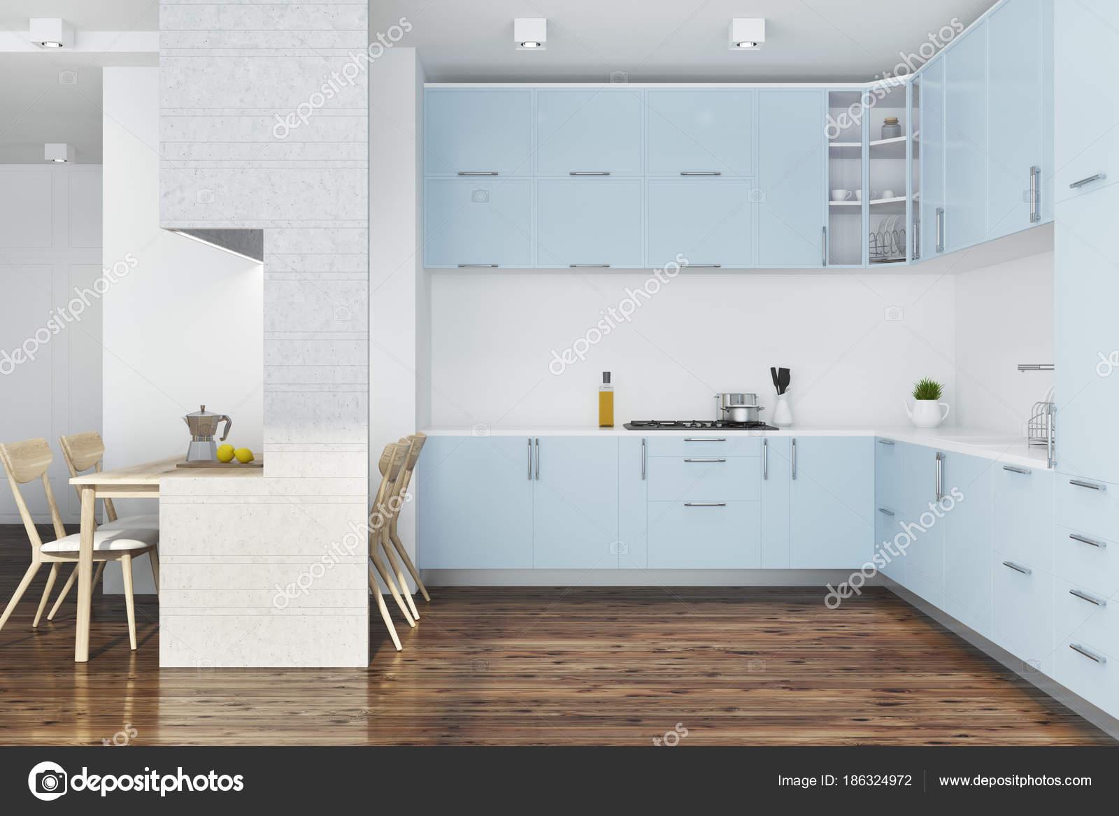 Muebles de cocina azul blanco foto de stock for Deco de cocina azul blanco