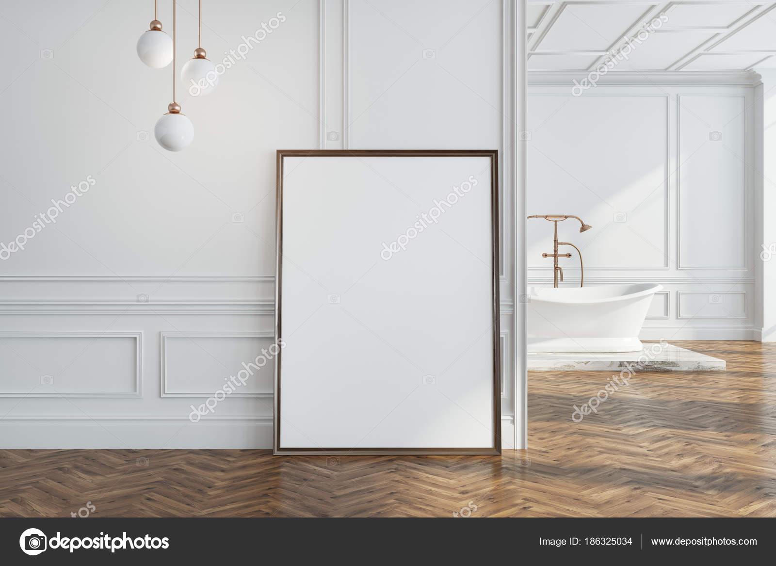 Biała ściana łazienki Plakat Na ścianie Zdjęcie Stockowe