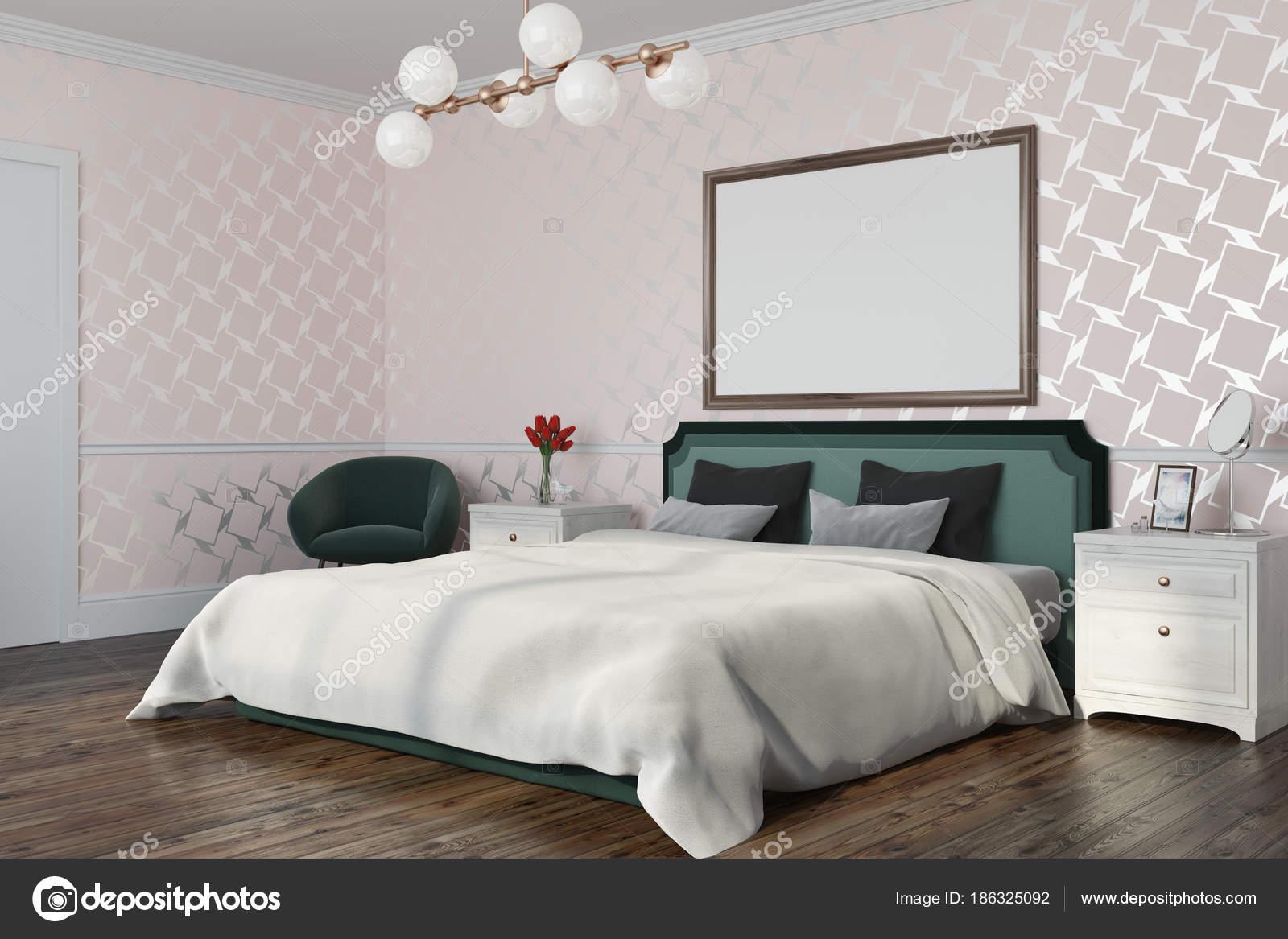 Weiße Muster Schlafzimmer mit einem Plakat — Stockfoto ...