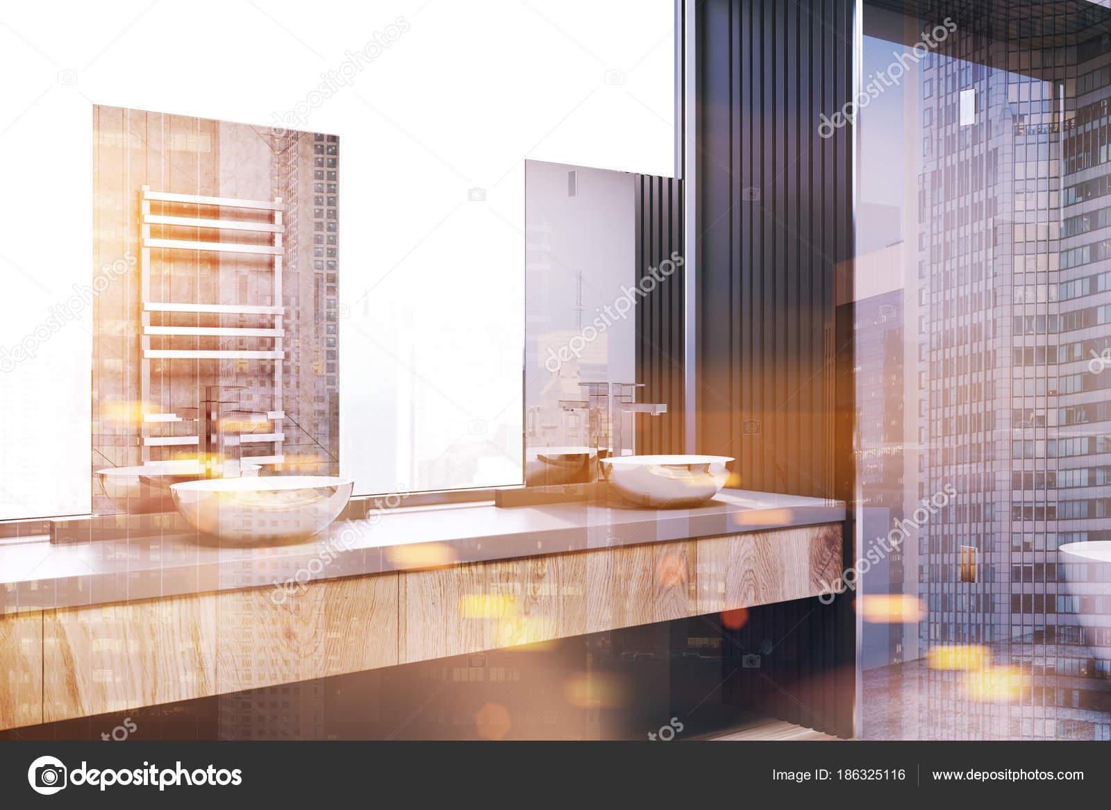 Hoek Wasbak Badkamer : Witte en grijze badkamer hoek dubbele wastafel toned u stockfoto