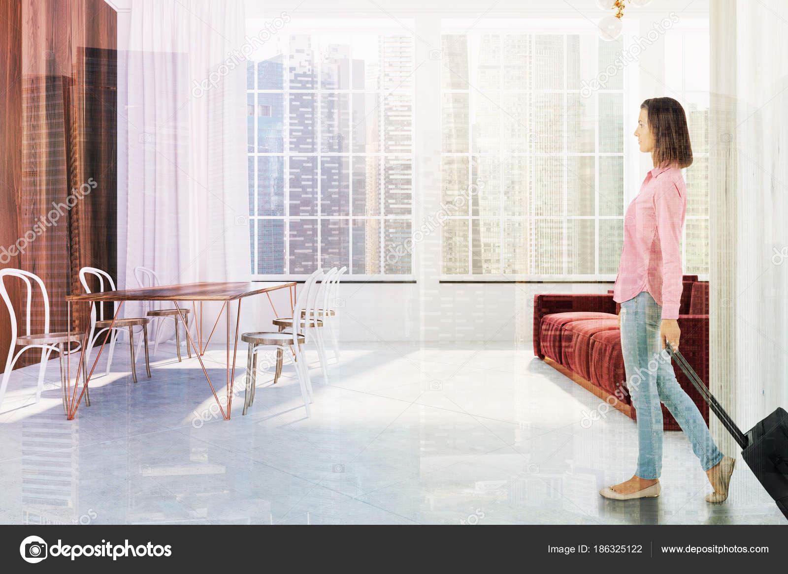 Scandinavian living room, red sofa, side, girl — Stock Photo ...