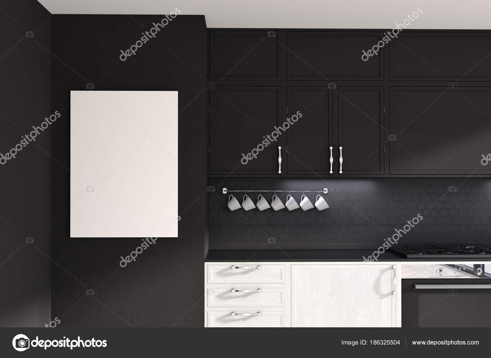 Witte en zwarte originele keuken idee poster u stockfoto