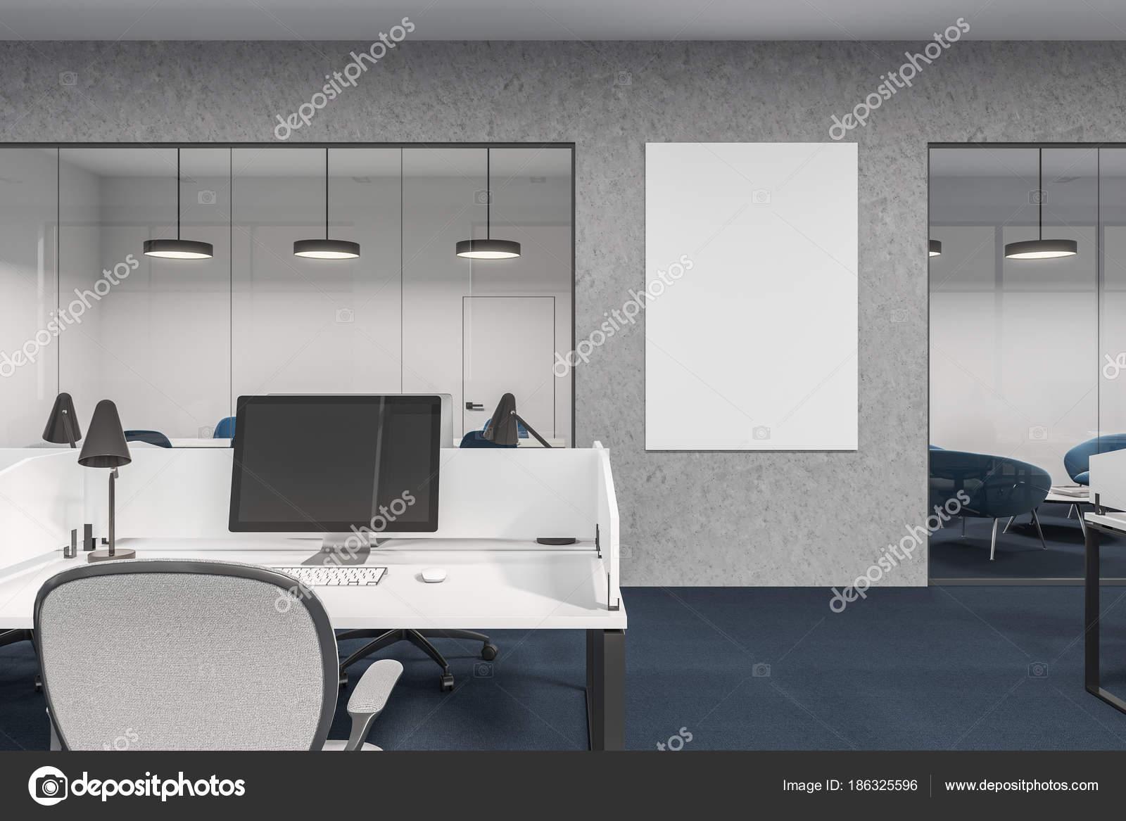 Compartiments de bureau blanc et béton poster u2014 photographie