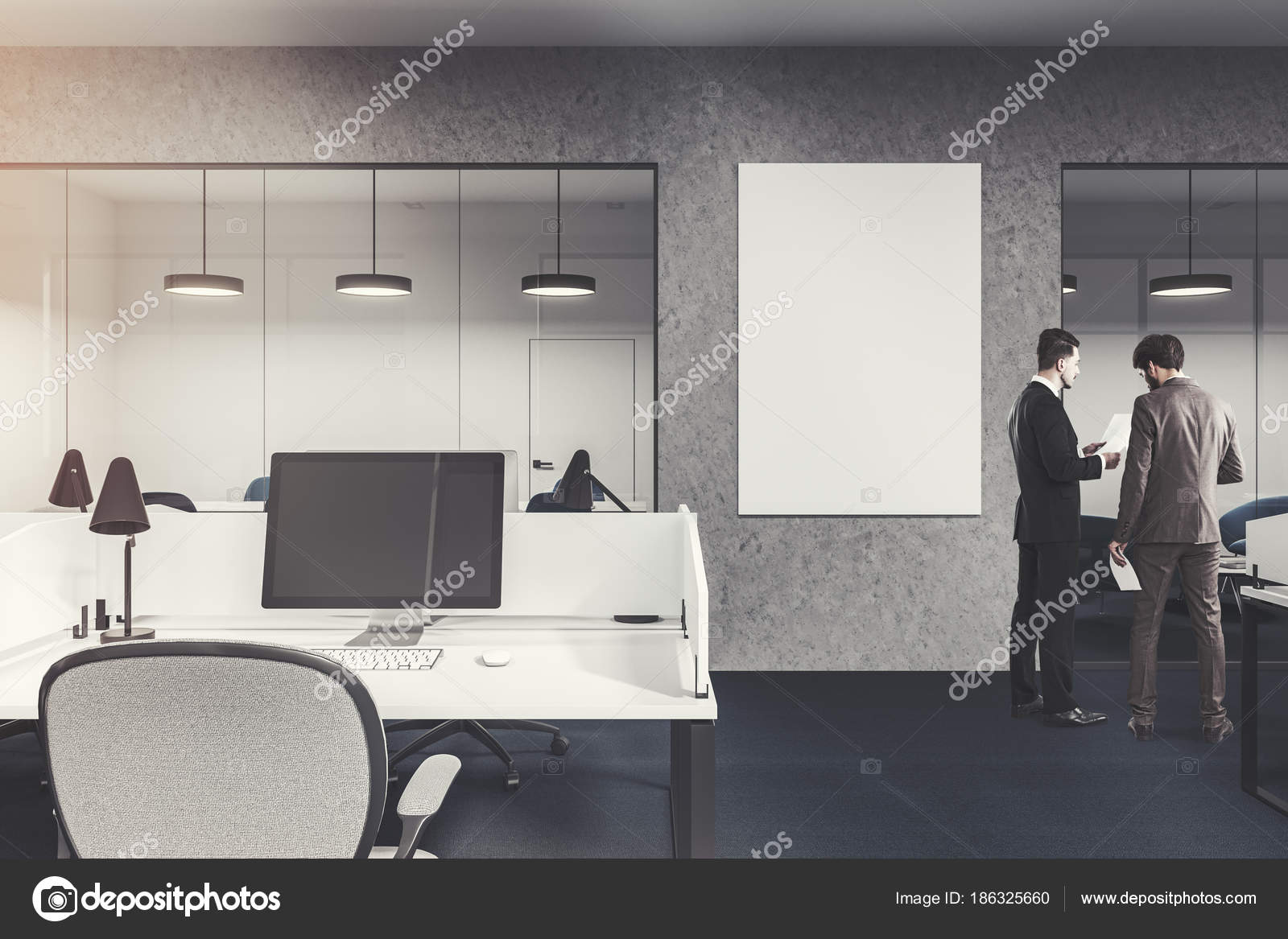 download office desk cubicles design. Delighful Office Computer On An Office Cubicle Desk Gray And Glass Walls With A Large  Vertical Poster A Dark Floor Business People Talking 3d Rendering Mock Up Toned  And Download Office Desk Cubicles Design W
