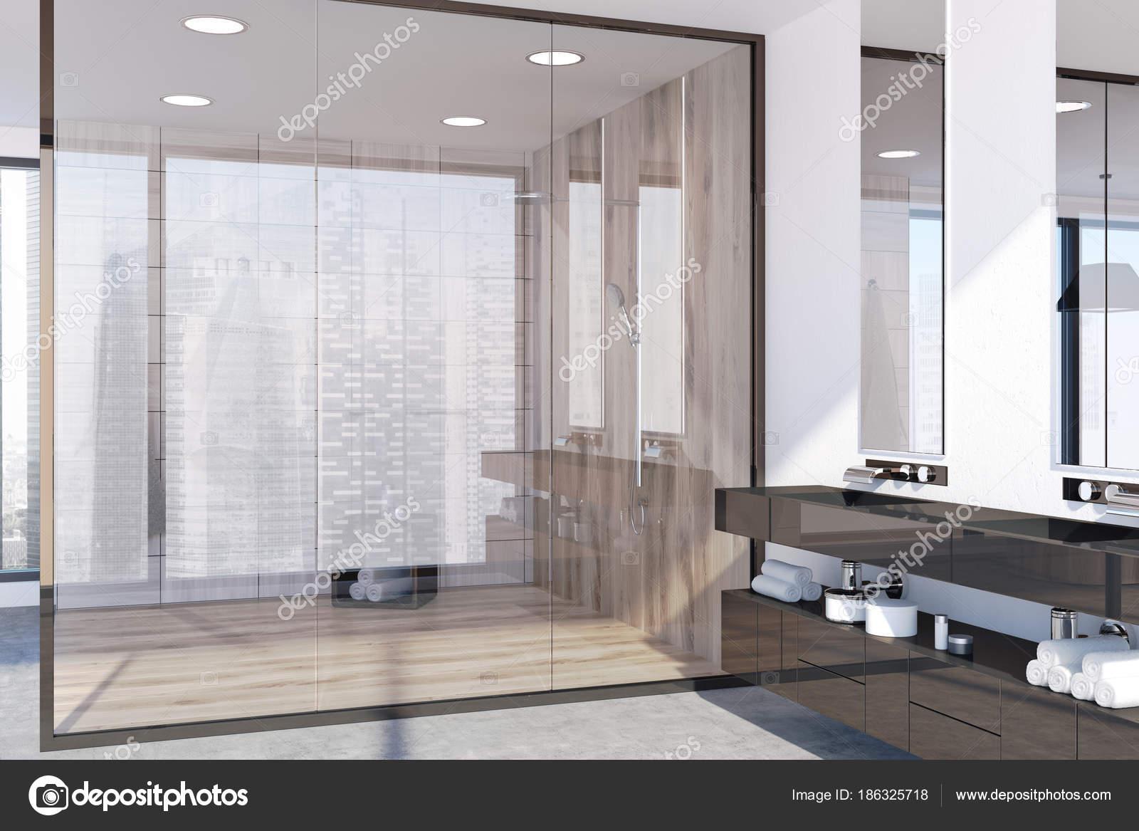 Light wooden bathroom, shower stall — Stock Photo © denisismagilov ...