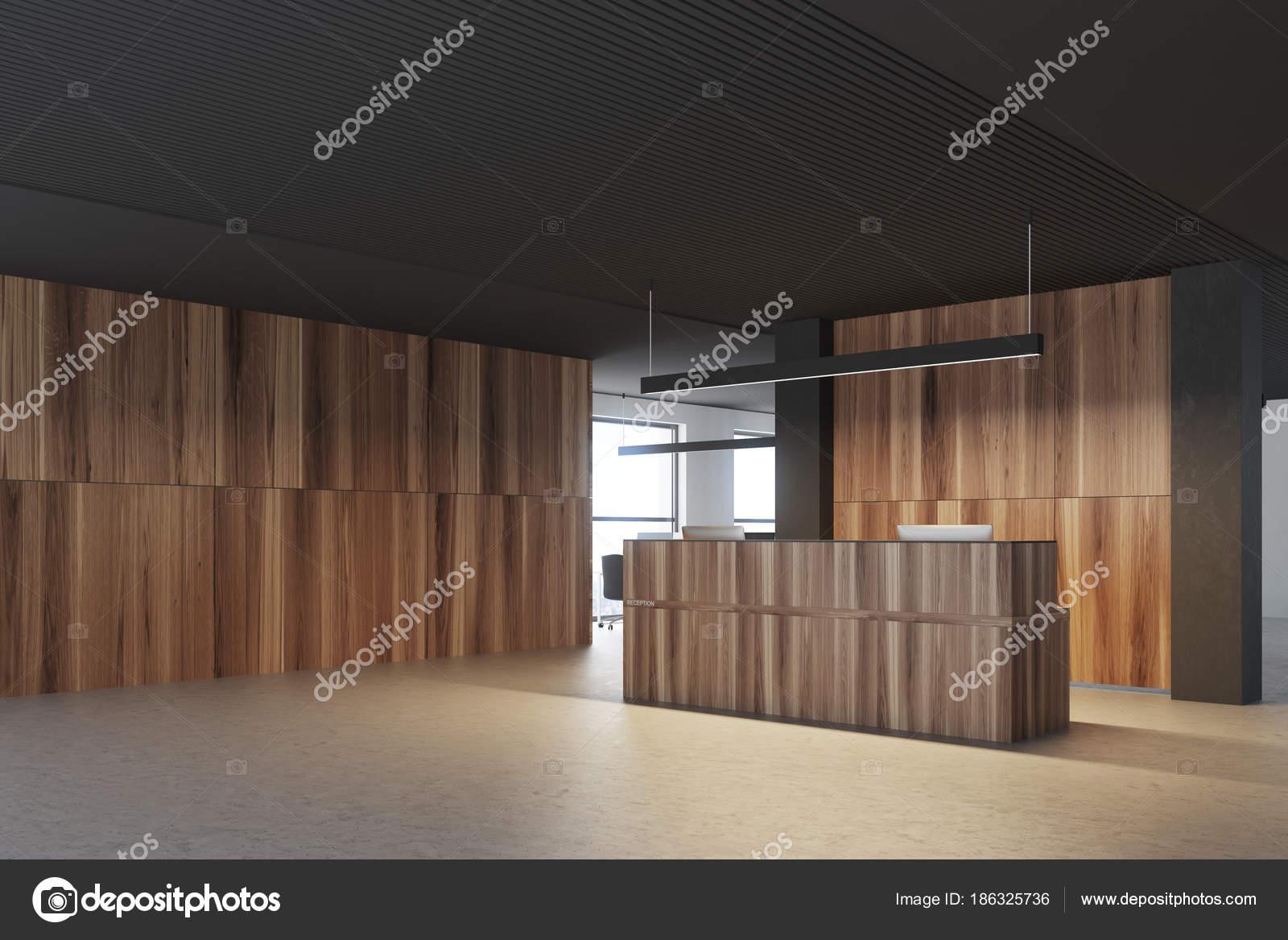 Vue de côté de réception bureau bois et noir u2014 photographie