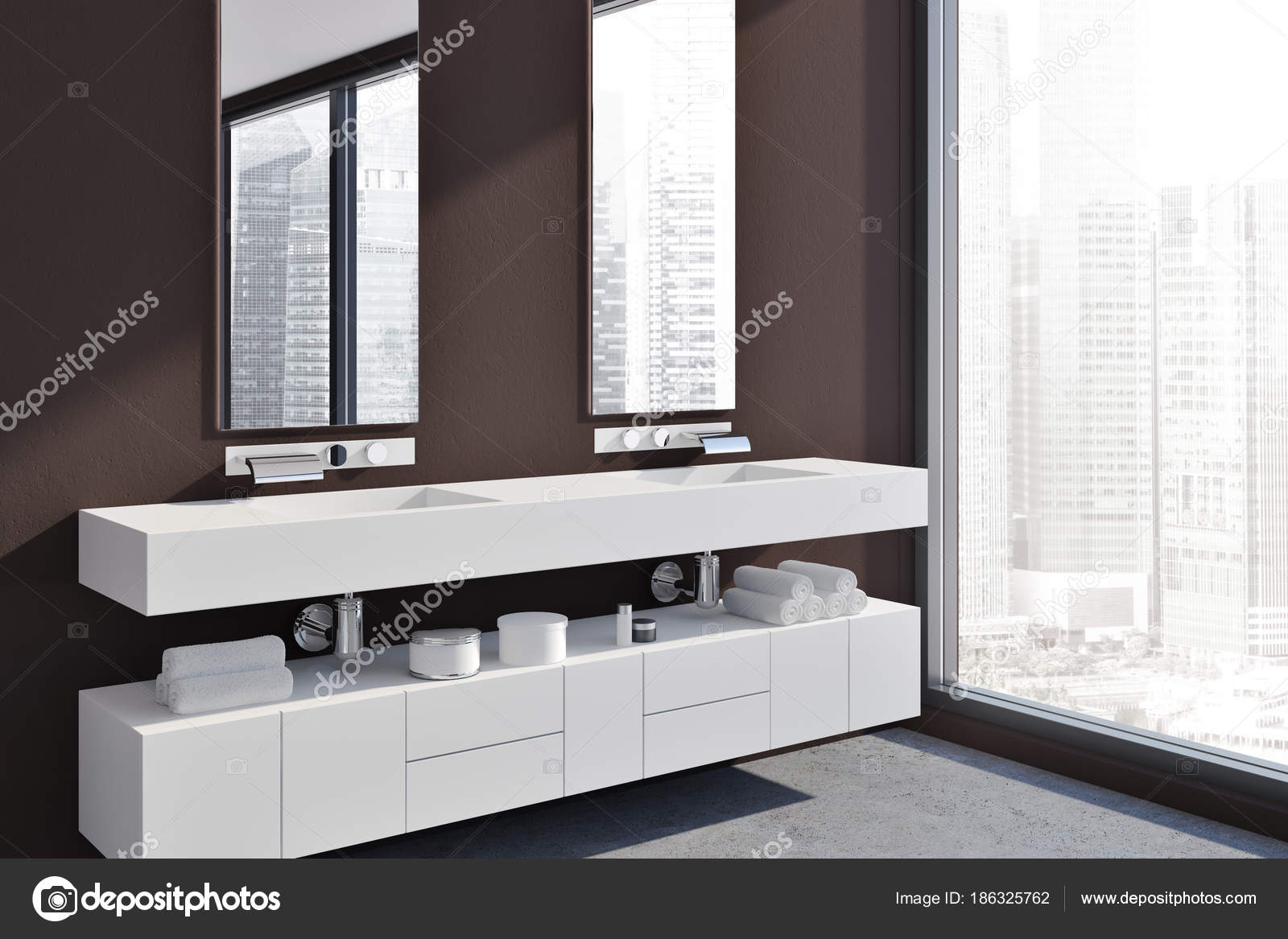 Hochwertig Weiße Doppelte Waschbecken Eitelkeit Einheit Seite U2014 Stockfoto
