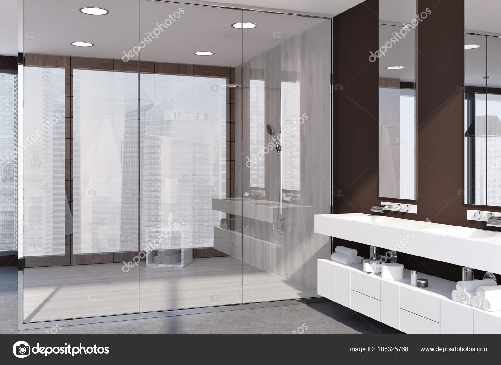 Dark wooden bathroom, shower stall — Stock Photo © denisismagilov ...