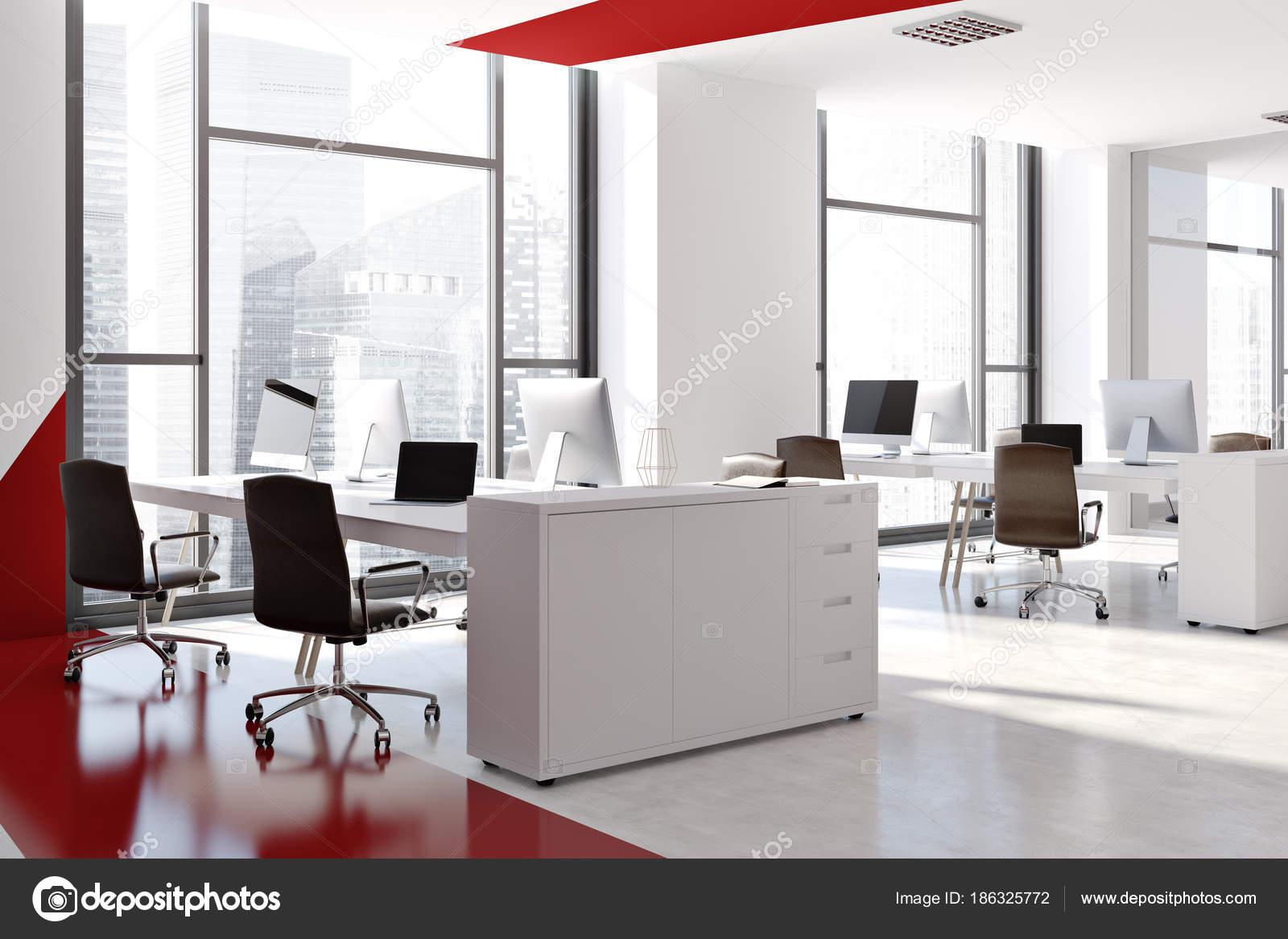 Rouge et blanc bureau moderne vue latérale u photographie