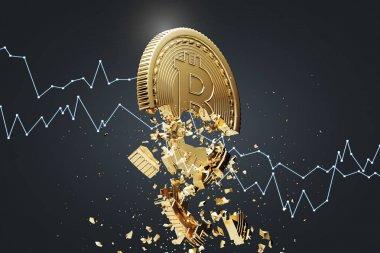 Bitcoin collapse, black background, graph