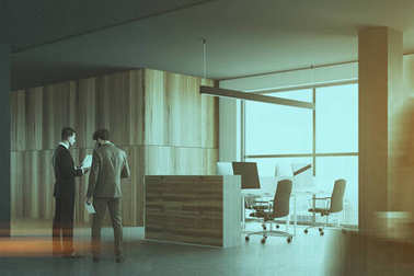 Gray and wooden office cubicles, businessmen