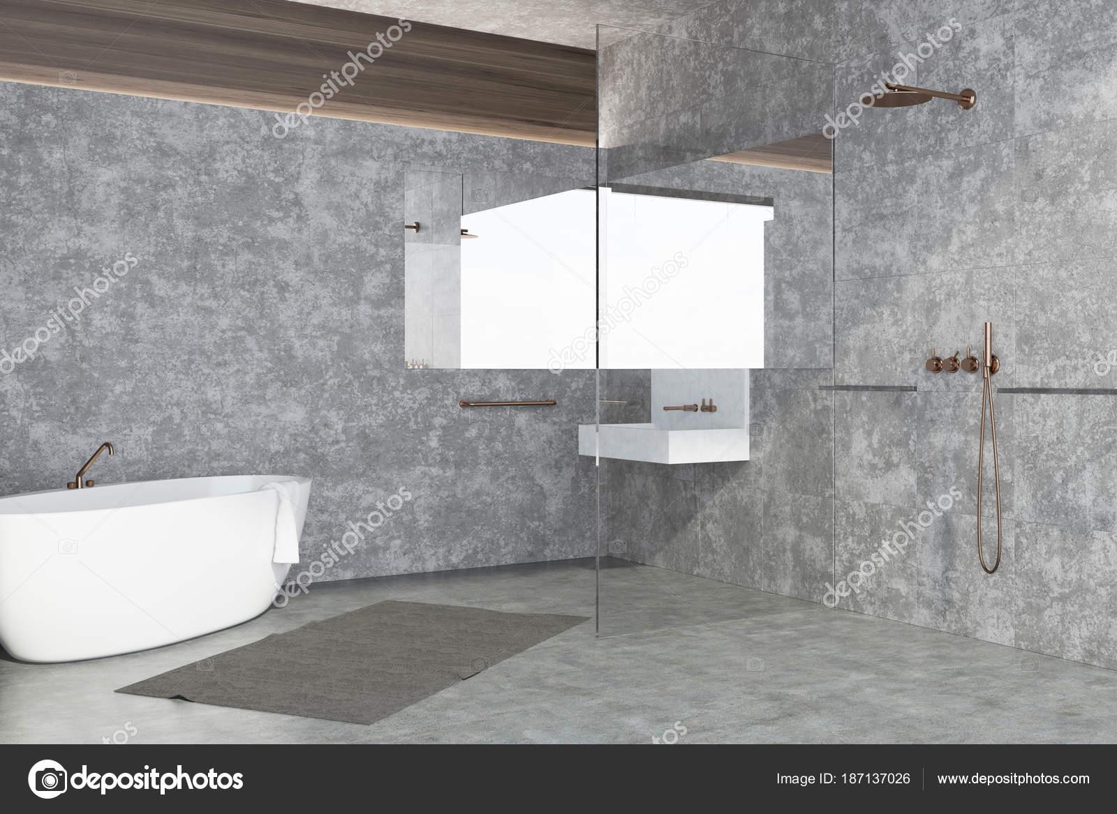 Vasca Da Lavare In Cemento : Interiore della stanza da bagno di muro di cemento u foto stock