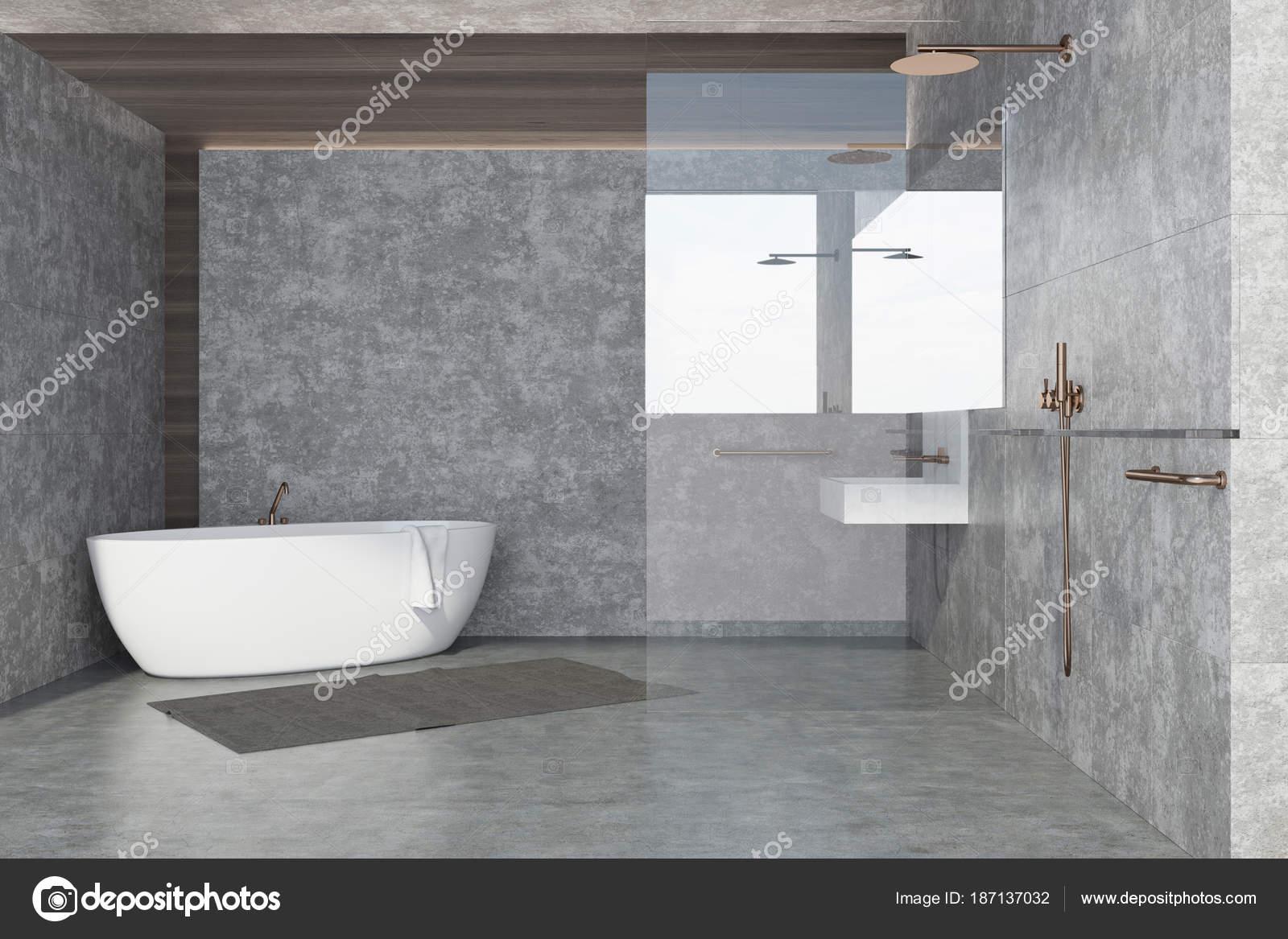 Beton Muur Badkamer : Betonnen muur badkamer interieur witte tub u stockfoto