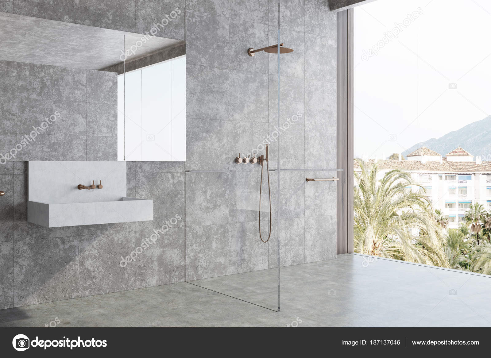 Concrete bathroom, sink and shower corner — Stock Photo ...
