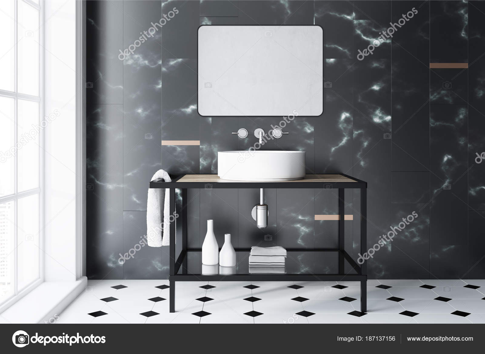 salle de bain marbre noir et blanc. Black Bedroom Furniture Sets. Home Design Ideas