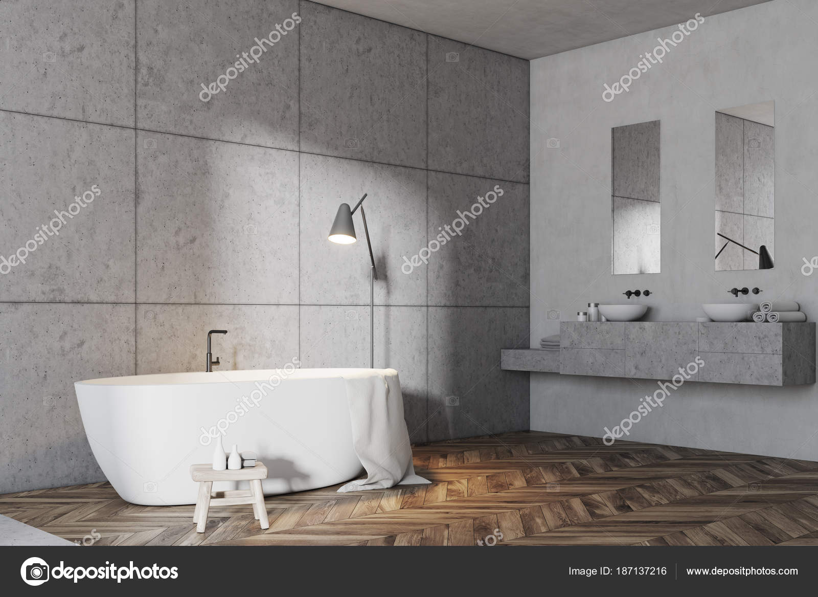 carrelage gris salle de bains baignoire d angle blanc photographie denisismagilov 187137216. Black Bedroom Furniture Sets. Home Design Ideas