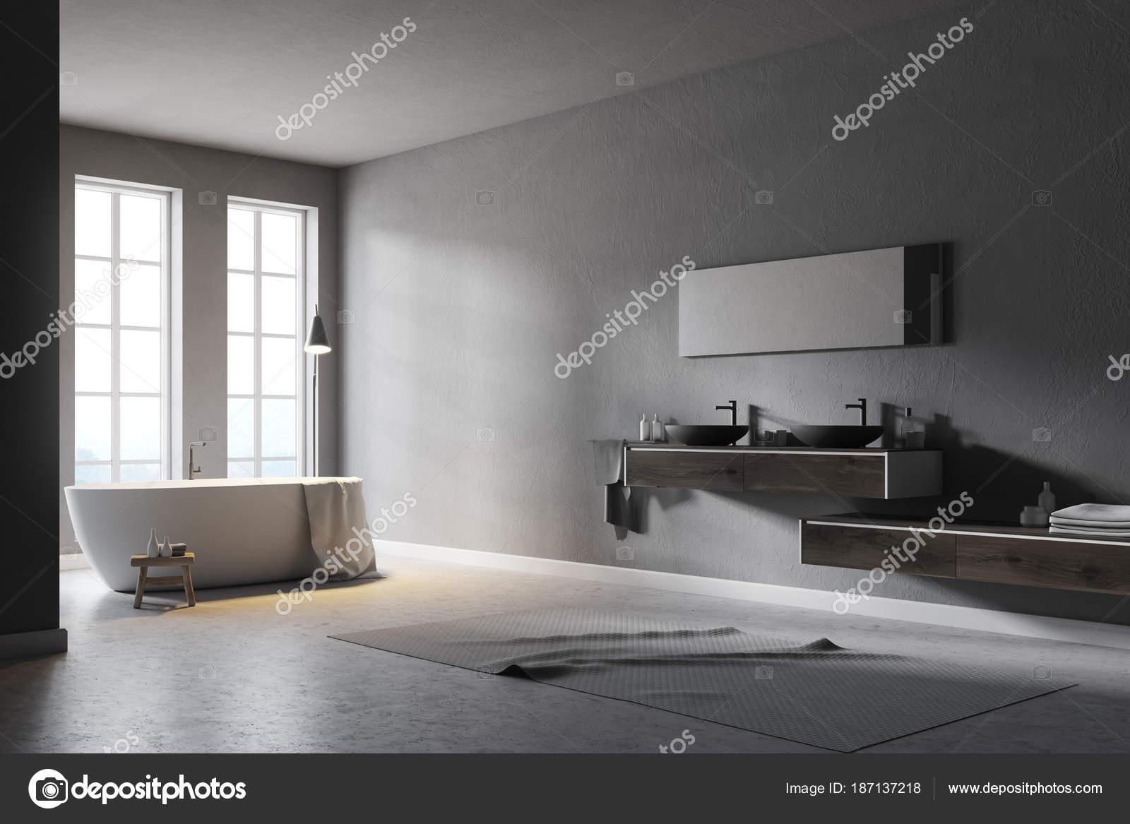 Coin salle de bain moderne gris — Photographie ...