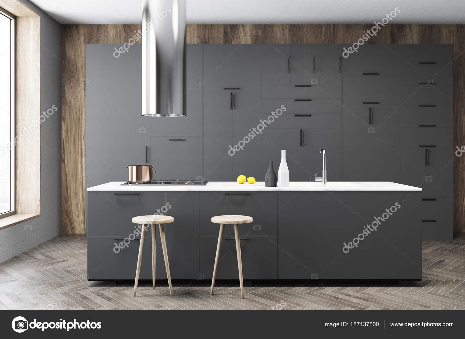 Bar interno, cucina grigio scuro — Foto Stock © denisismagilov ...