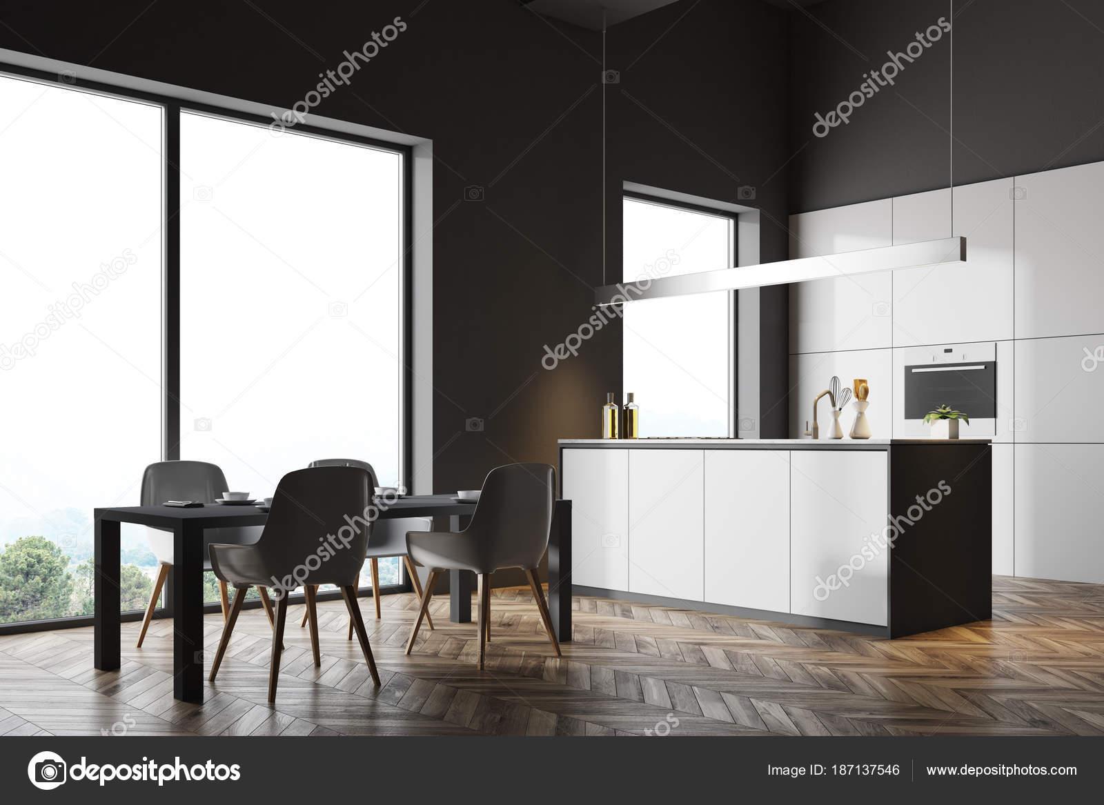 Mesa de cocina gris oscuro rincón, gris — Fotos de Stock ...