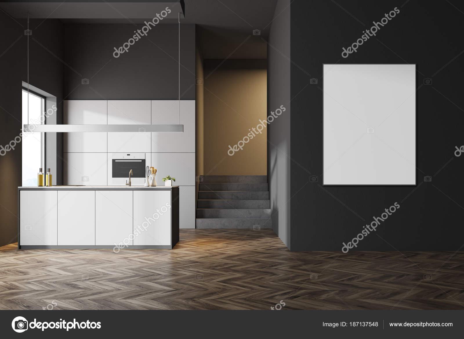 Ciemny Szary Kuchnia Wnętrz Plakat Zdjęcie Stockowe