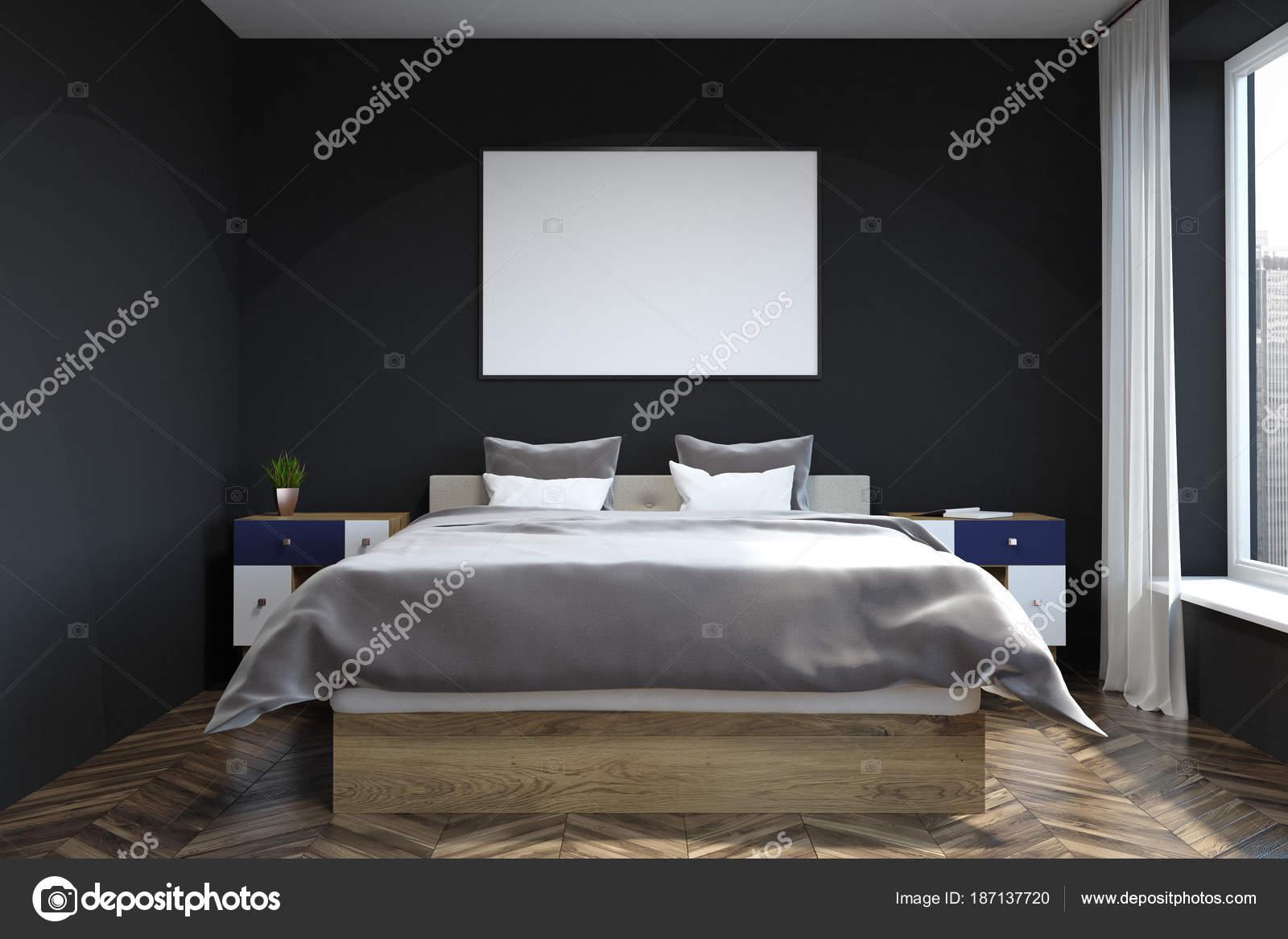Zwarte Slaapkamer Muur : Zwarte muur slaapkamer interieur poster u stockfoto