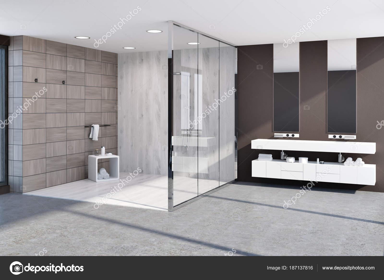 Badkamer Tegels Bruin : Houten tegels bruin badkamer hoek u stockfoto denisismagilov