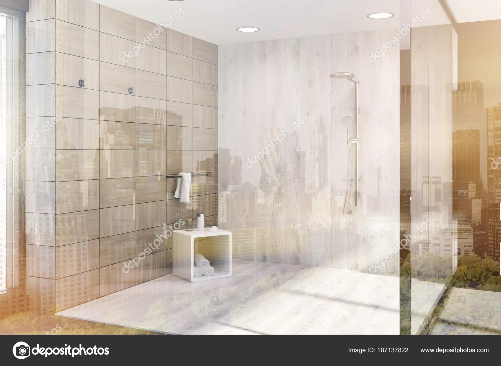 Piastrelle in legno marrone del bagno ad angolo doccia - Piastrelle in stock ...