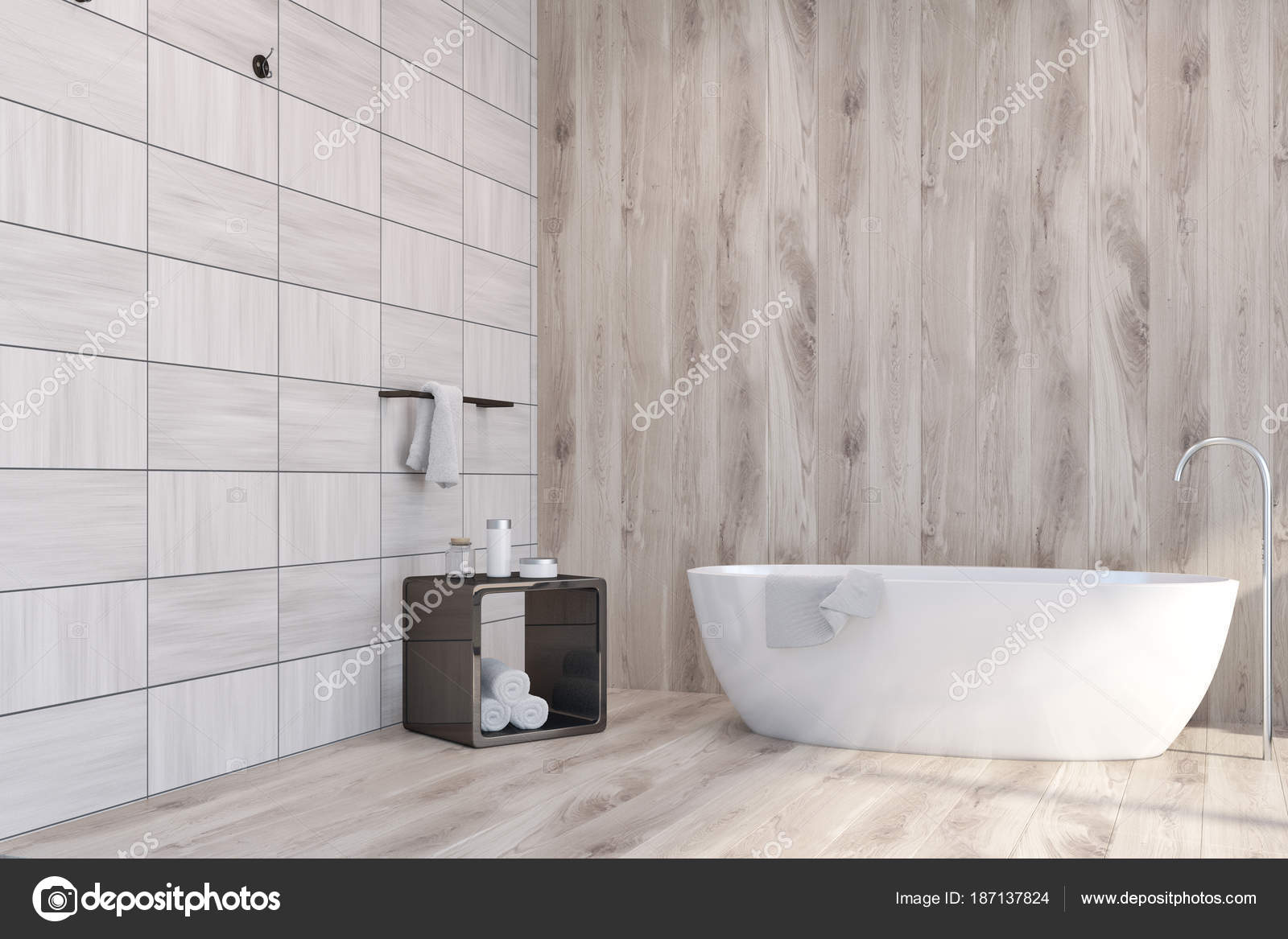 Houten tegels badkamer hoek bad u2014 stockfoto © denisismagilov #187137824