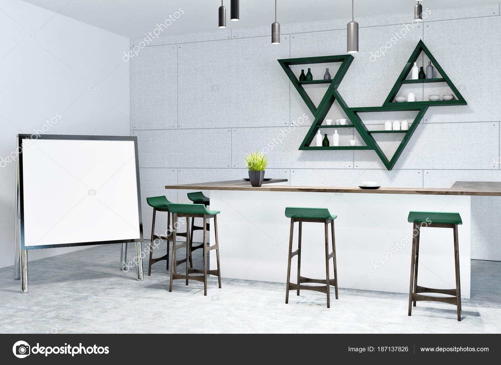 Bianco e legno verde bar interni mock up u2014 foto stock
