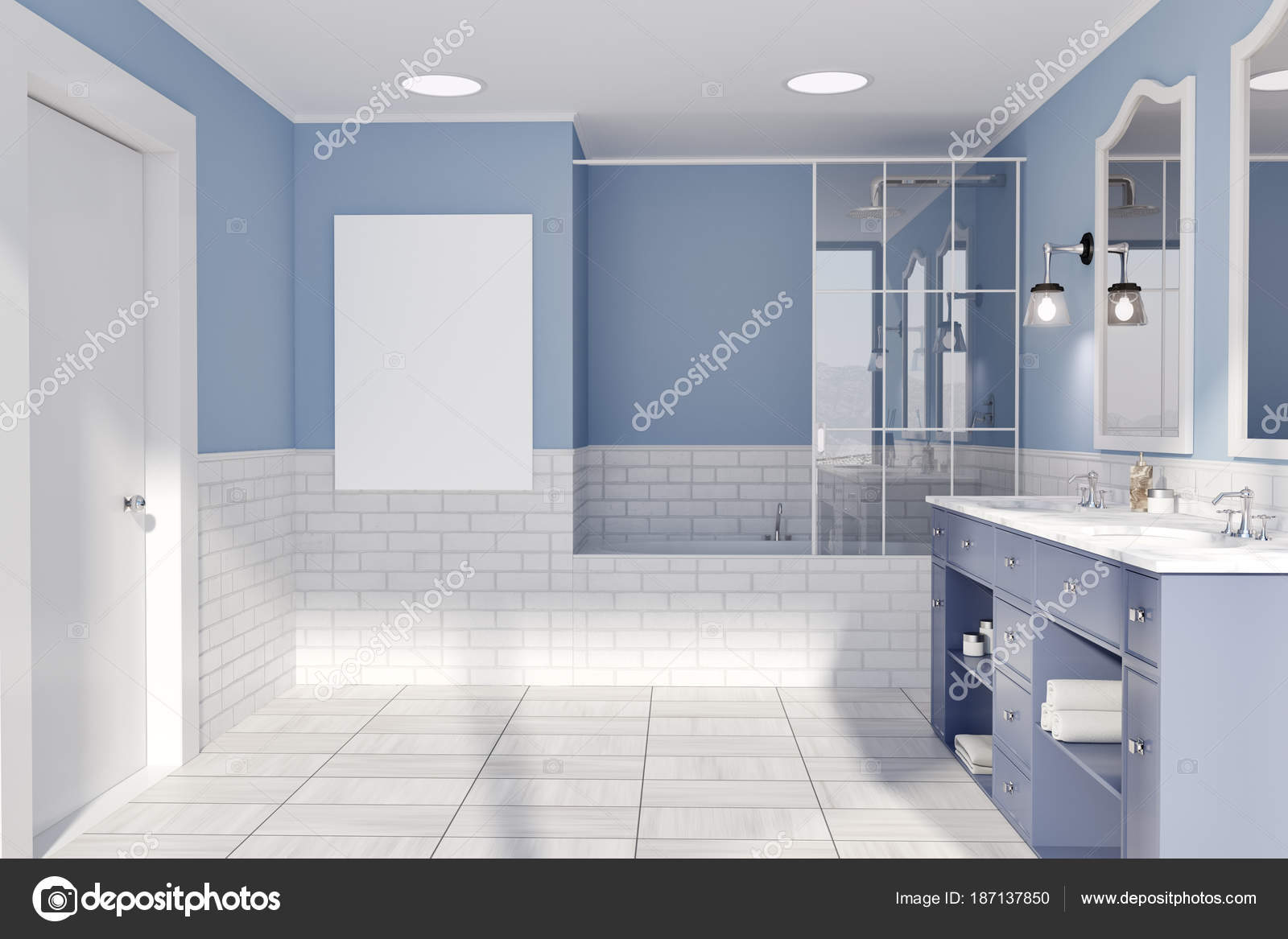 Salle De Bain Bleu Et Brique Mur Poster Photographie