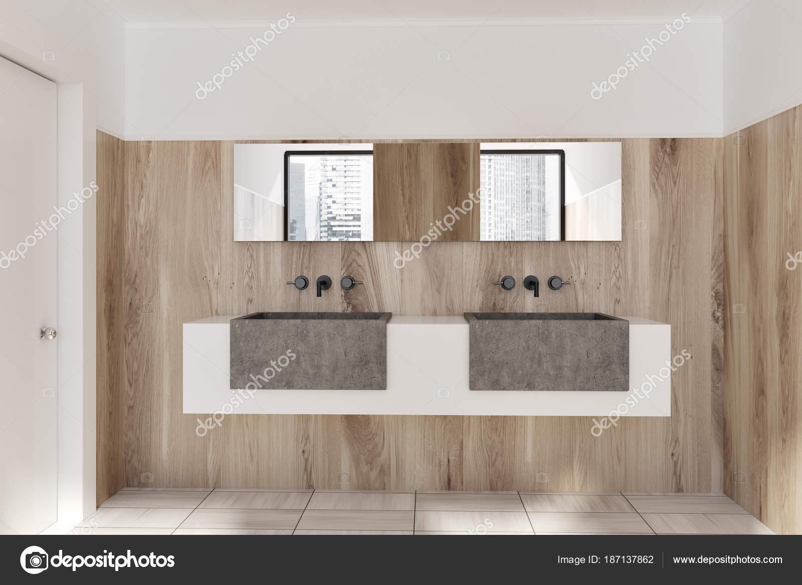Doppel Waschbecken Aus Holz Badezimmer Interieur Stockfoto