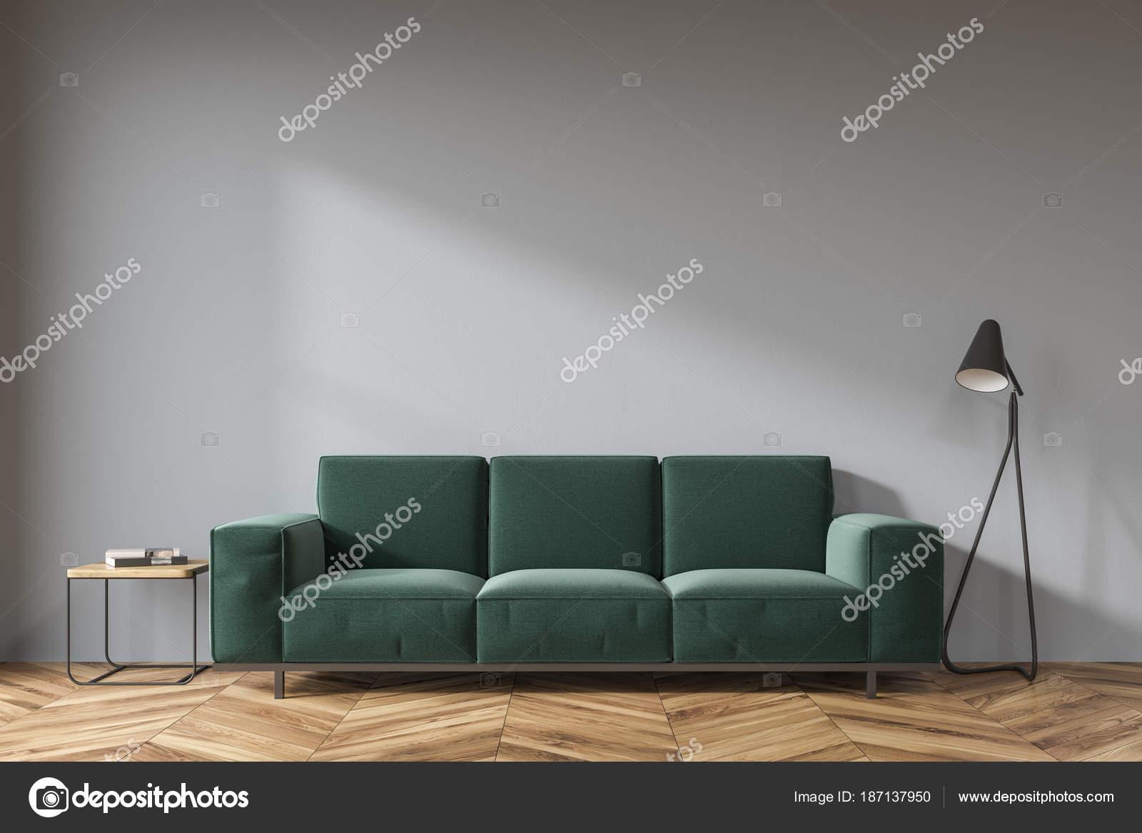 Graue Wohnzimmer Dunkle Grune Sofa Stockfoto C Denisismagilov