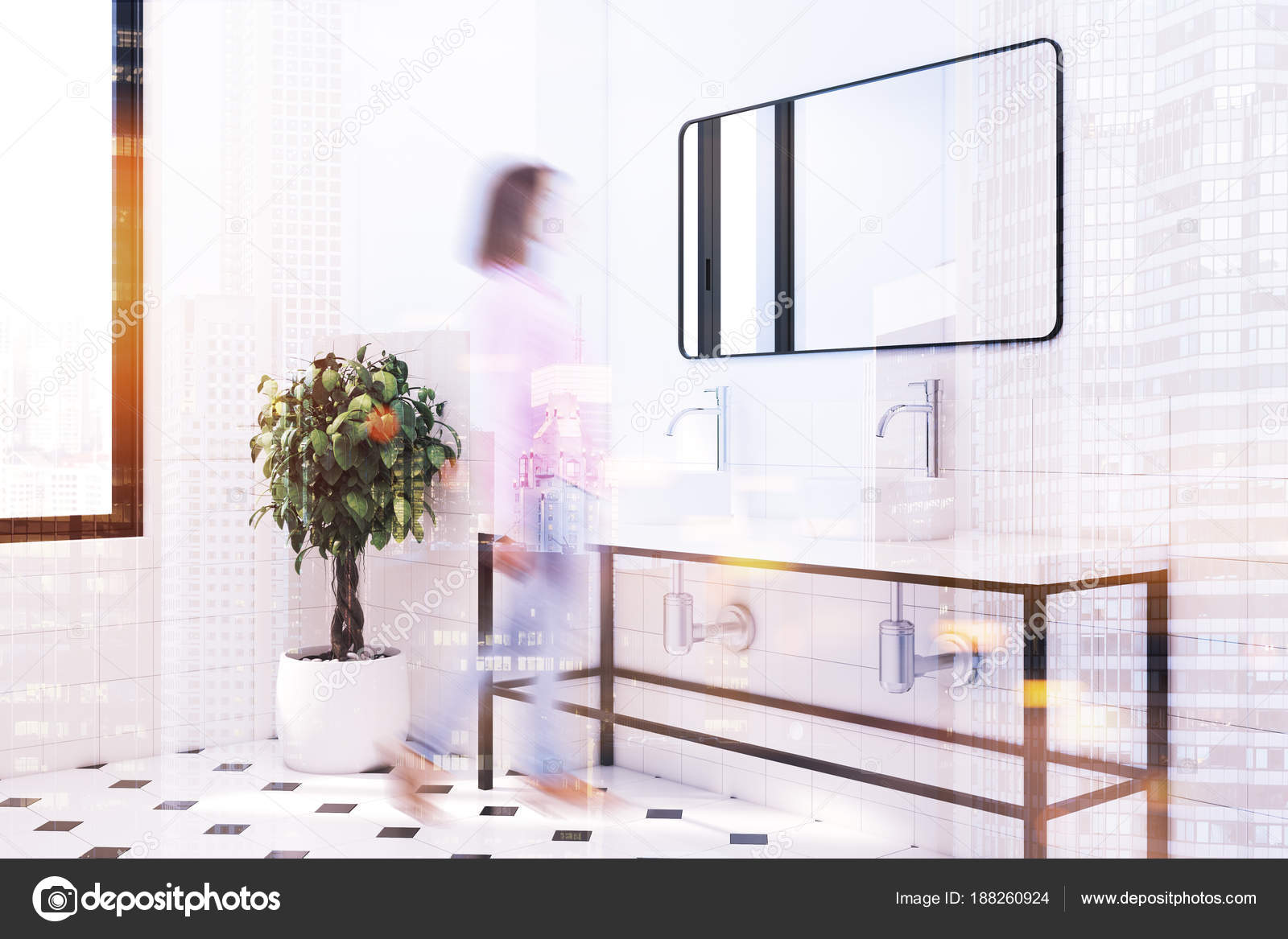 Rechthoekige Witte Wastafel : Wit betegelde badkamer dubbele wastafel kant weergave vervagen
