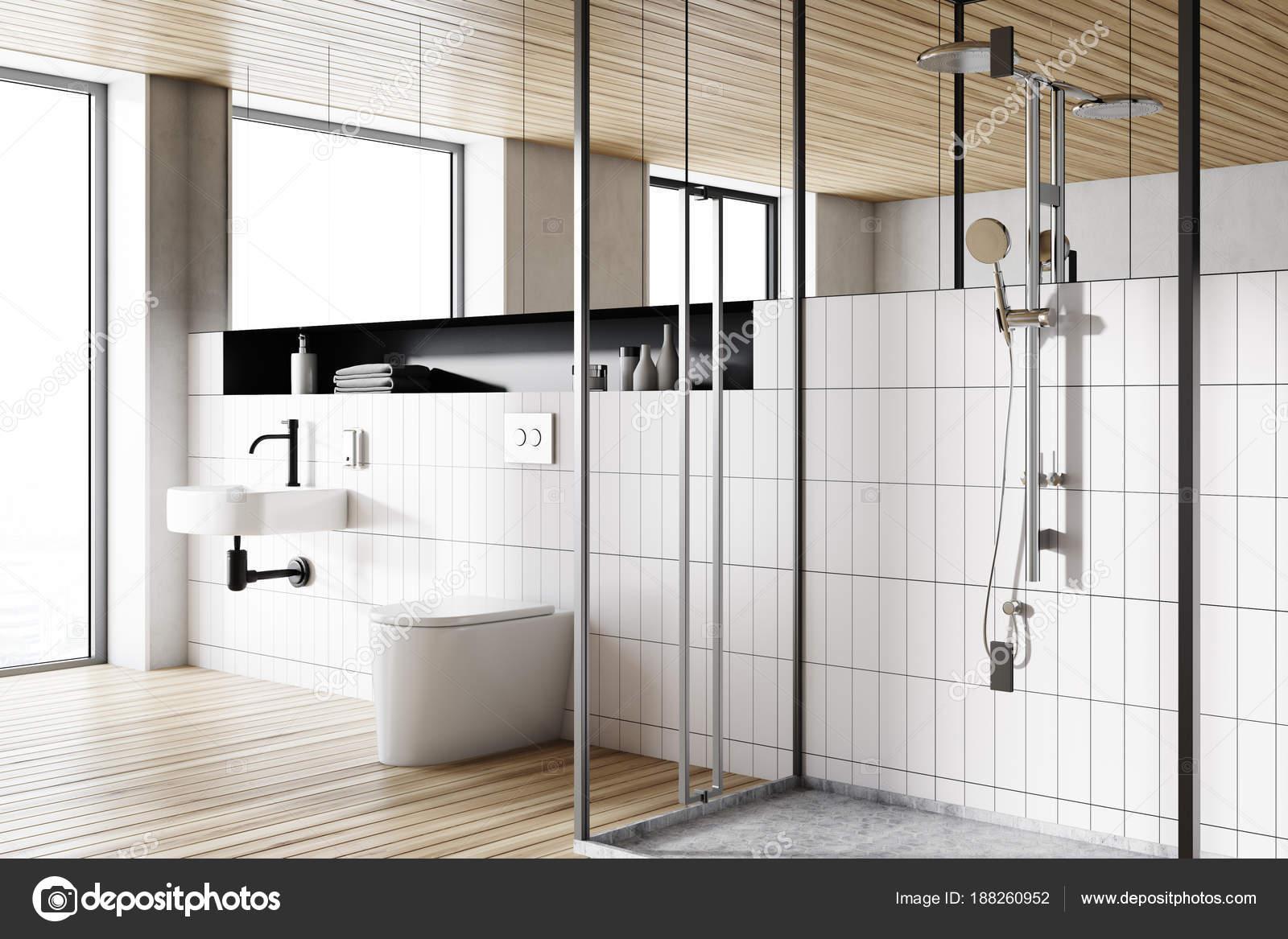 Houten plafond badkamer interieur zijaanzicht — Stockfoto ...