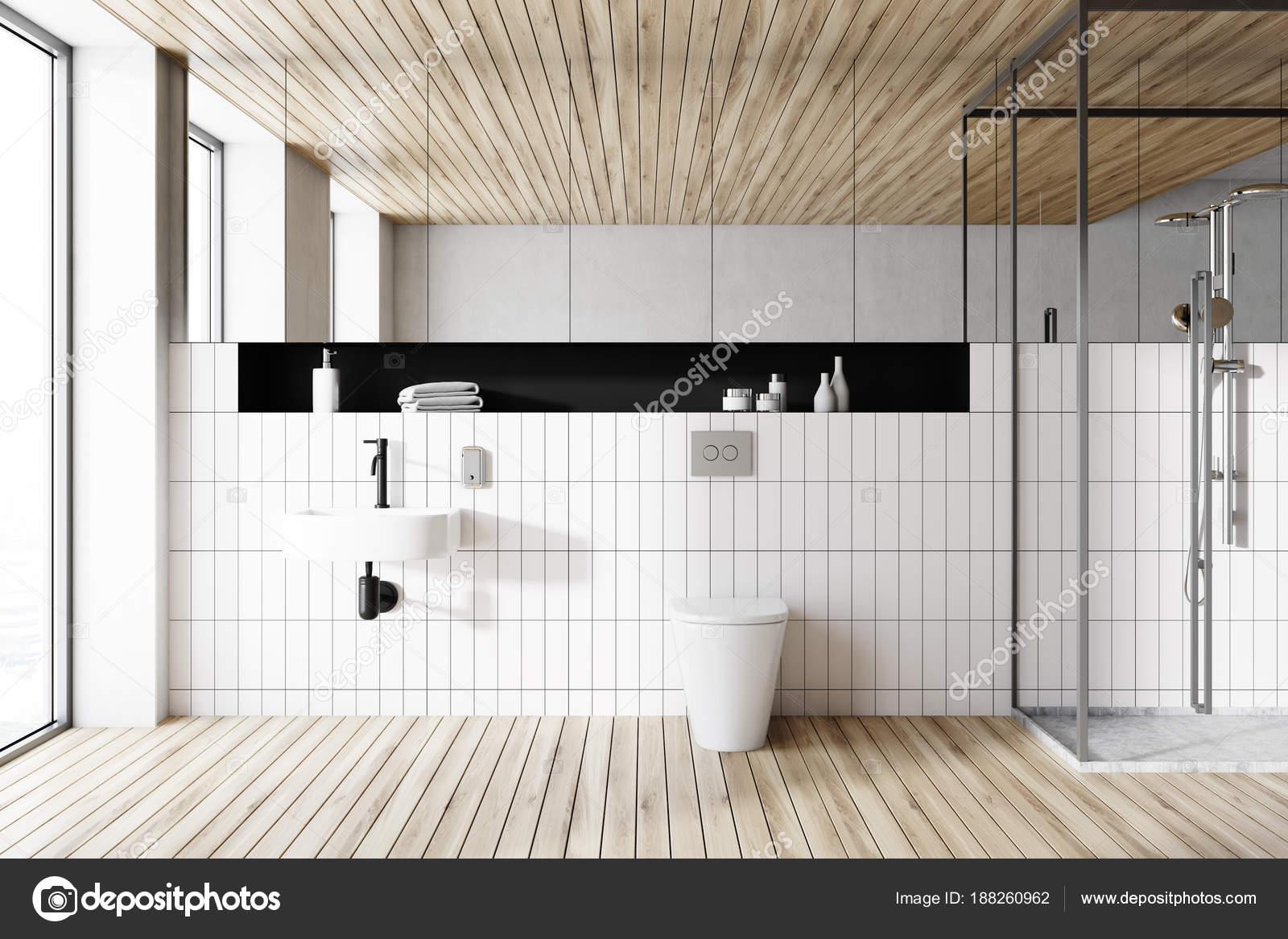 Houten plafond badkamer interieur — Stockfoto © denisismagilov ...