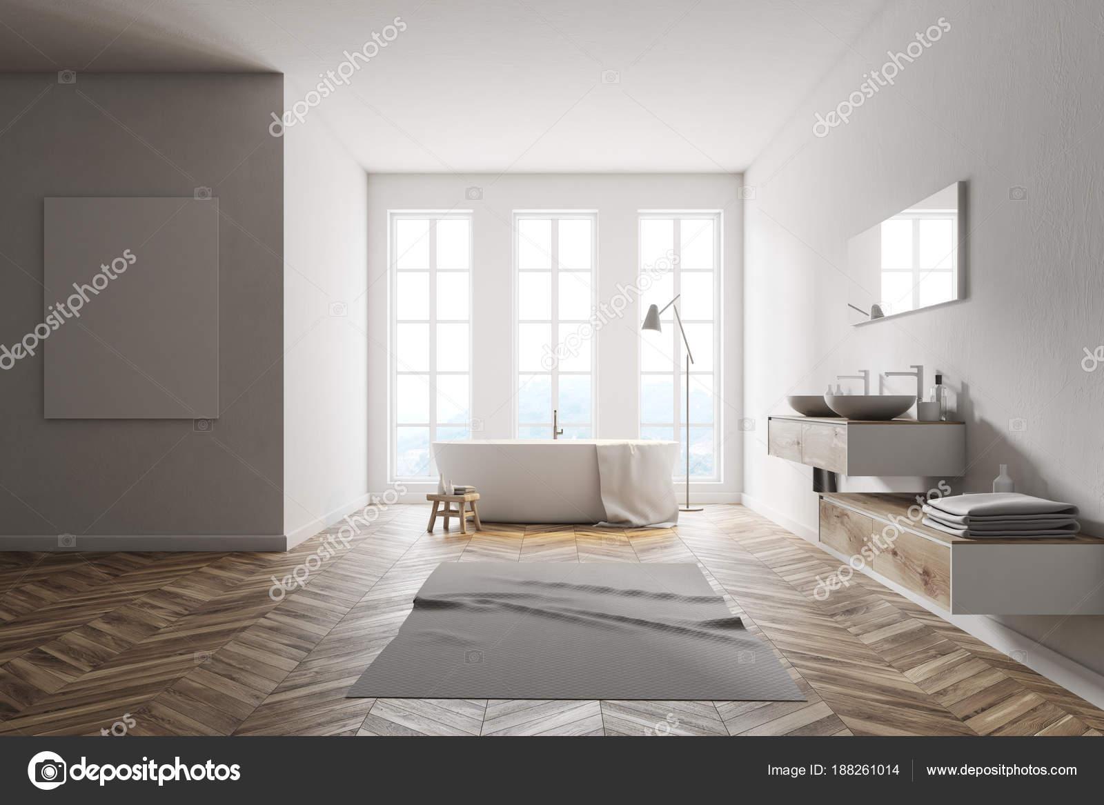 Minimalistische witte badkamer poster u stockfoto