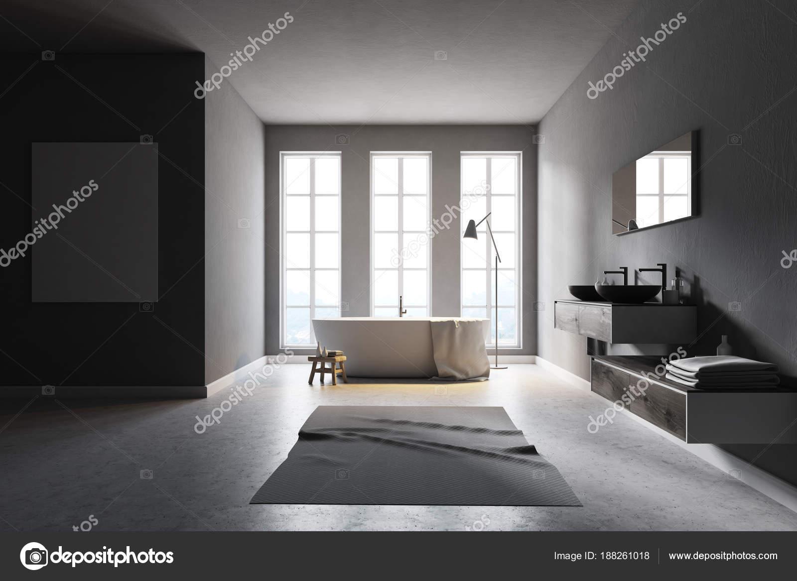 Minimalistisch grijze badkamer poster u stockfoto