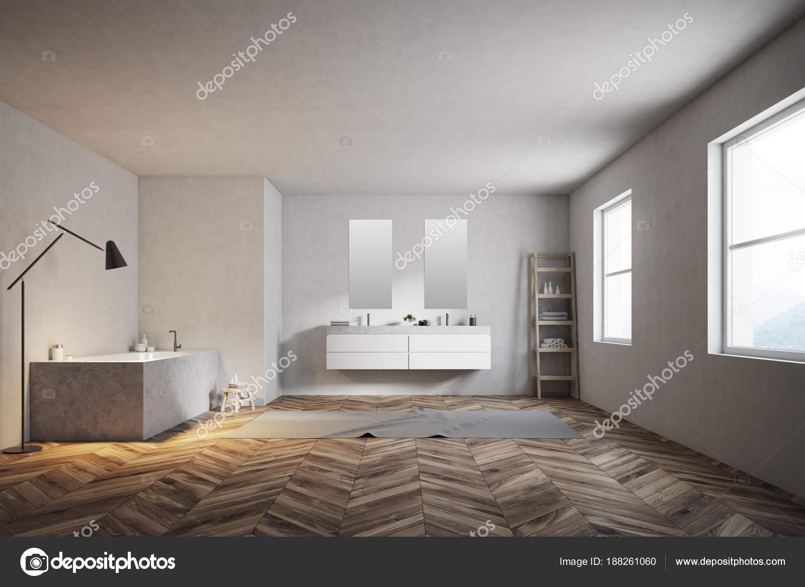Pareti Interne In Legno : Pareti interne bianche del bagno di lusso u foto stock