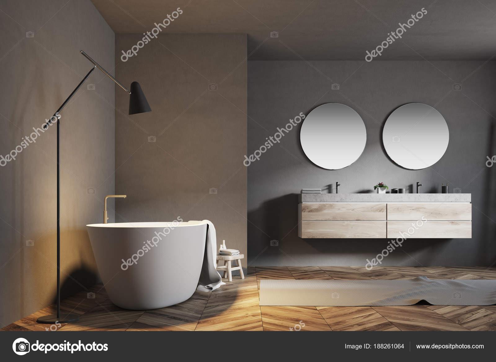Luxus Badezimmer Interieur, Graue Wände U2014 Stockfoto