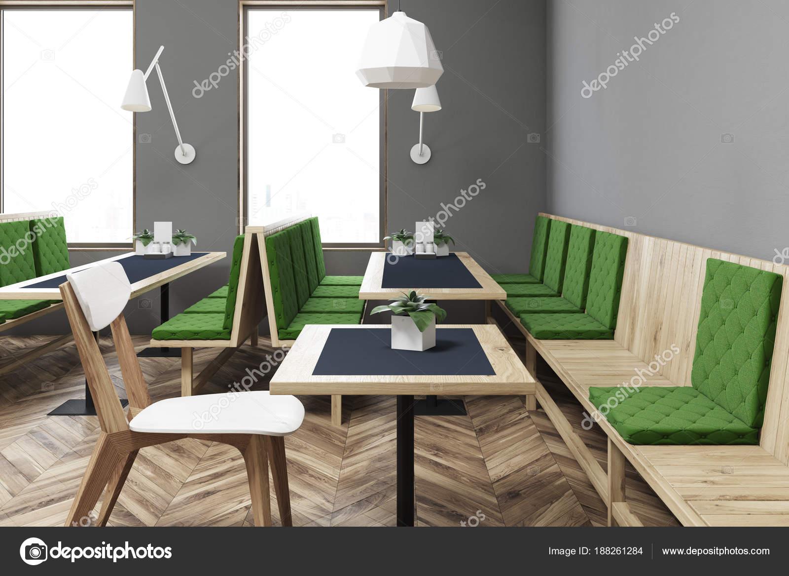 New Grijze en groene restaurant interieur close-up — Stockfoto #BH82