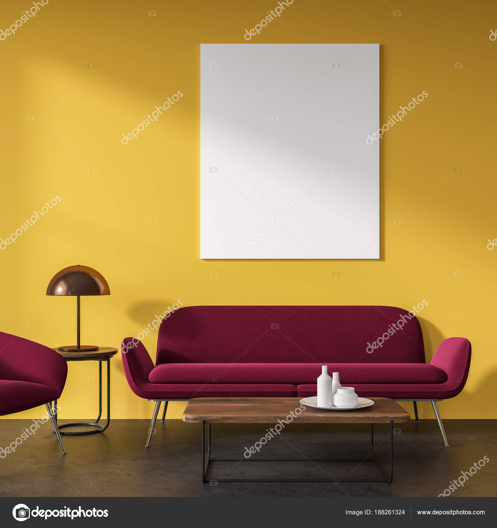 Gele woonkamer, rode sofa, poster — Stockfoto © denisismagilov ...