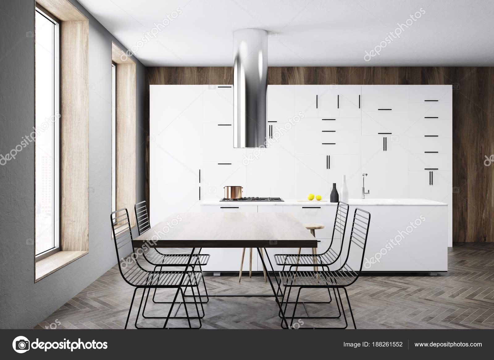Mesa, barra y cocina blanco interior — Foto de stock ...