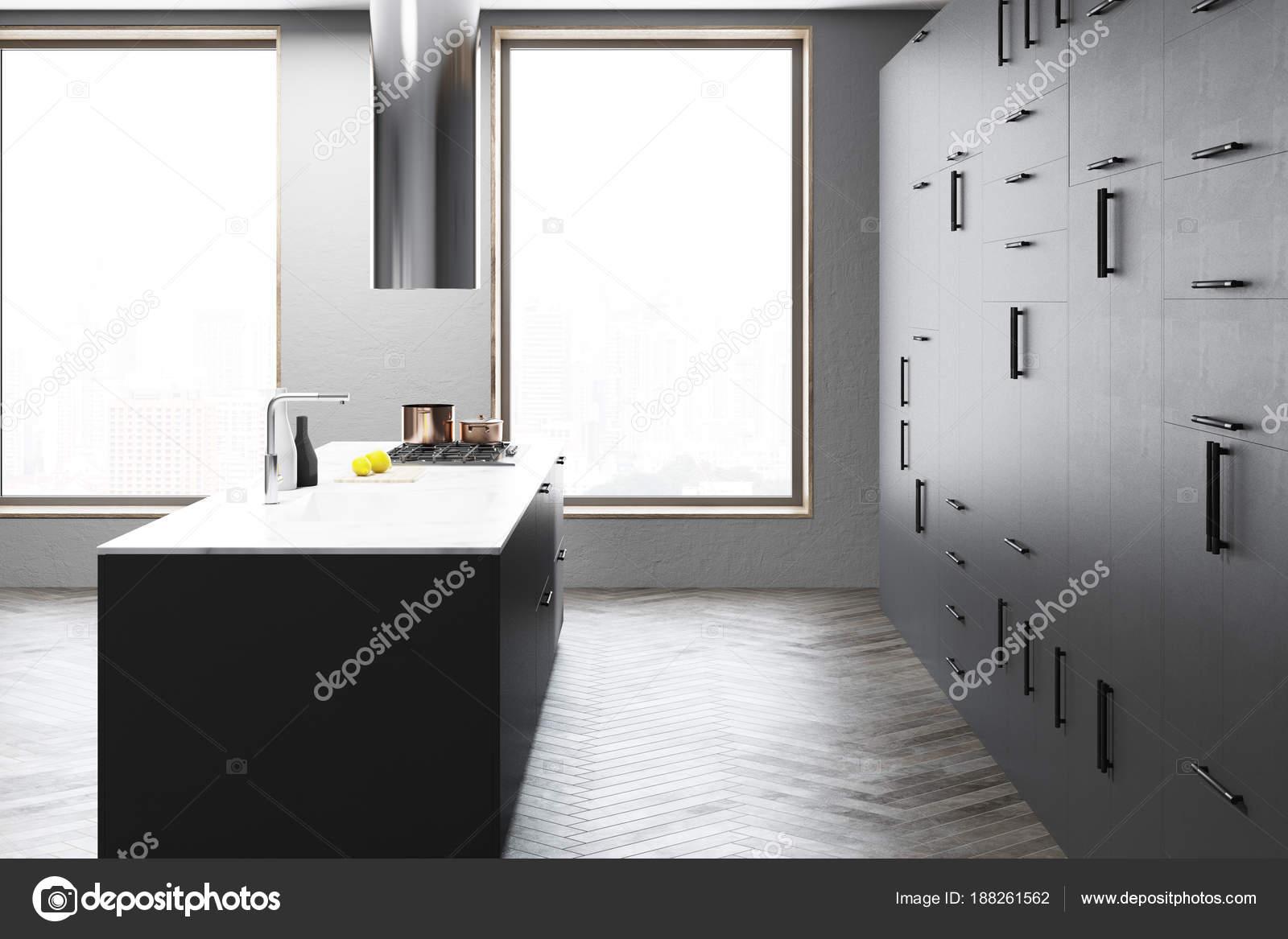 Interiore della cucina grigio scuro bar vista laterale u foto