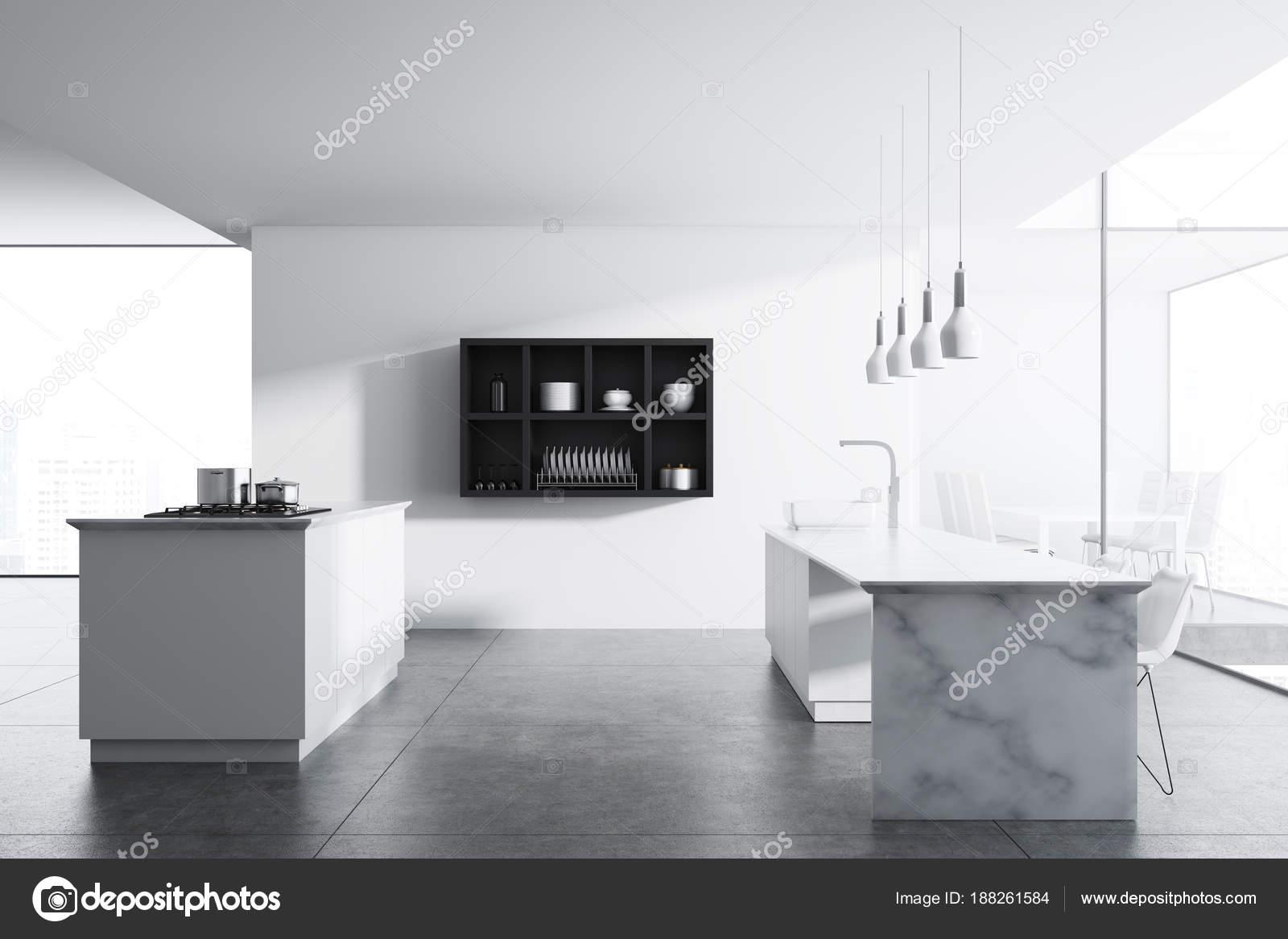 ściany Kuchni Biały Marmur Tabeli Zdjęcie Stockowe
