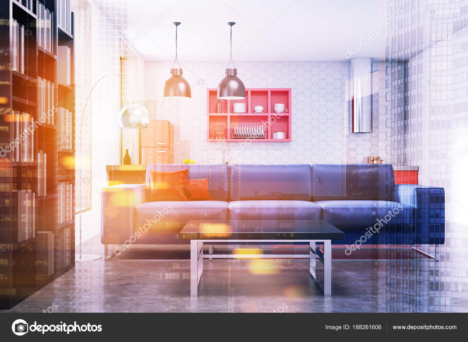 Cocina y sala de estar, sofá azul tonificada — Foto de stock ...