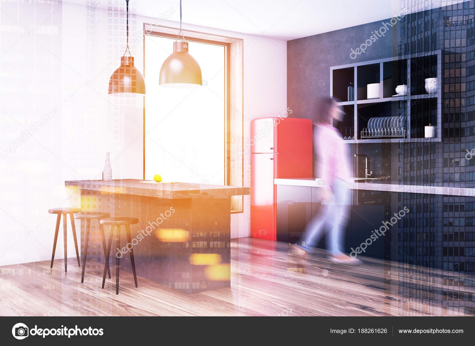 Nevera de esquina, rojo gris cocina tonificada — Foto de stock ...